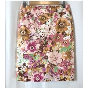 J. Crew bold floral canvas pencil skirt 6